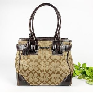 Coach Hampton Belted Signature Tote Handbag Brown